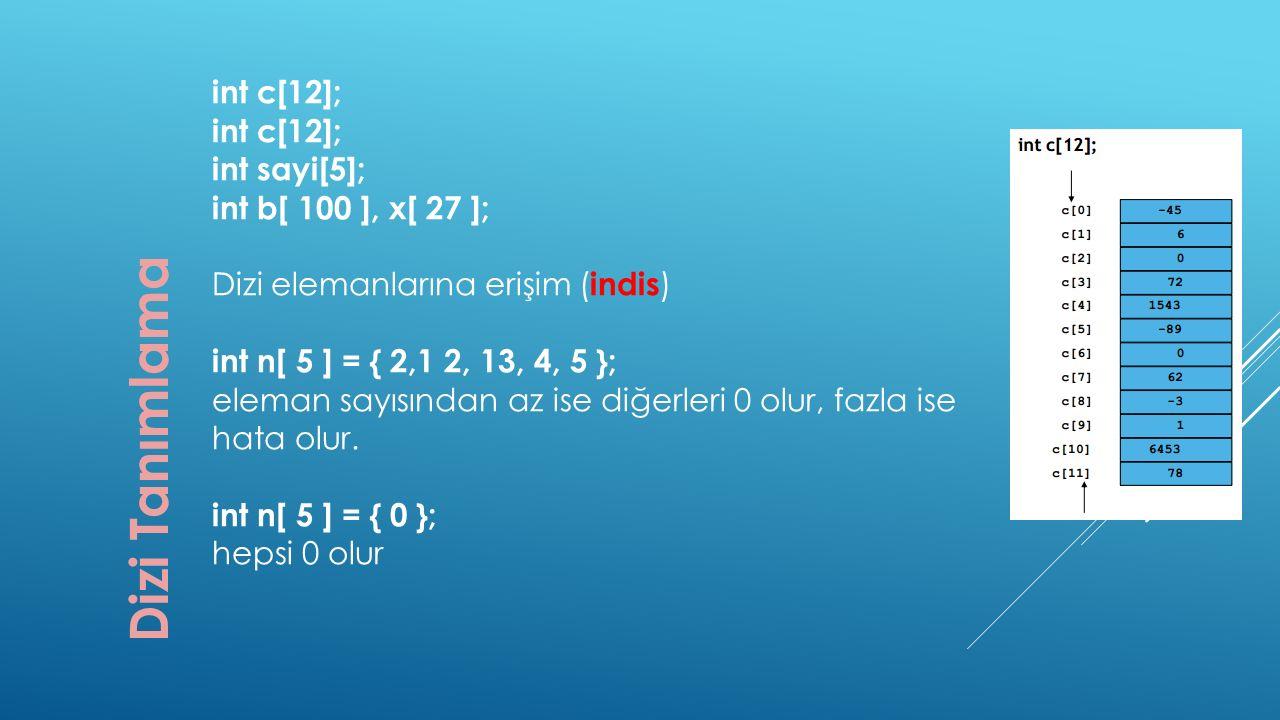 Dizi Tanımlama int c[12]; int sayi[5]; int b[ 100 ], x[ 27 ];